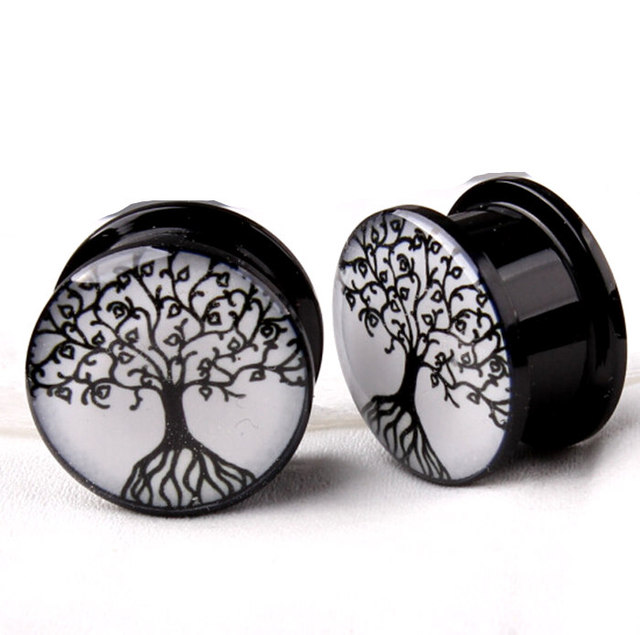 Life Of Tree Acrylic Ear Plugs Flesh Tunnels Earring Hollow Expander Gauges Kit