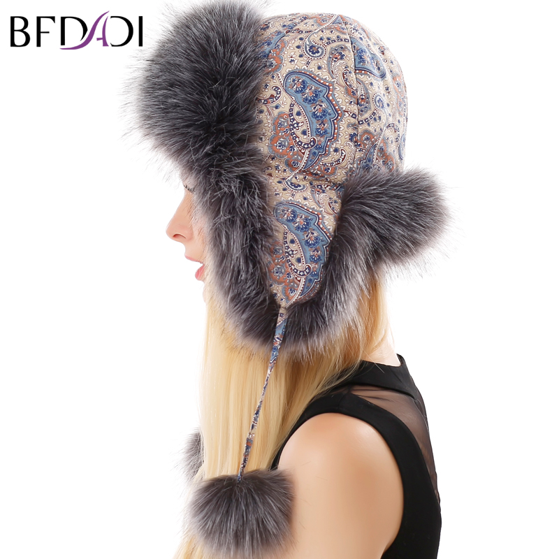 BFDADI New Long Fur Bomber Hattar För Kvinnor Hat Print Blommor Design Tjocka Öronskydd Vinter Mode Mössor Stor Storlek 60cm