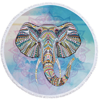 150cm Round Large Microfiber Fabric Beach Towel for Adult Kids Elephant Tassel Bath Towel Mandala Tapestry Blanket Picnic Mat 1