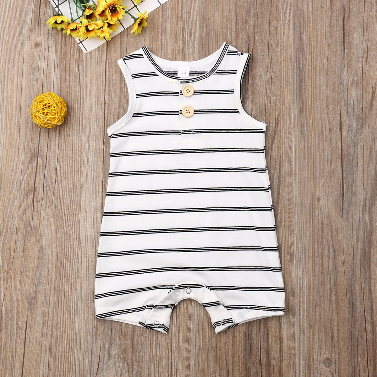 Pudcoco Newborn Baby Boy Girl Clothes Sleeveless Striped Cotton Romper Jumpsuit One-Piece Outfit Sunsuit Playsuit Clothes