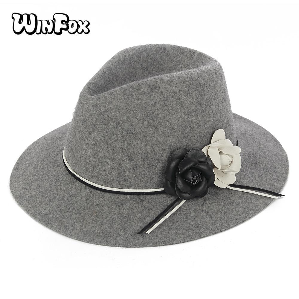 b72ab783ed6 2018 New Luxury Brand Women Autumn Winter Black Grey Floral Wo Fedora Hats  With Camellia Flower