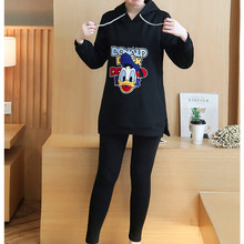 Cotton Maternity Sets Hoodie Sweatshirt Fleece Tops + Pants Pullover Clothing Clothes For Pregnant Women Autumn Outerwer E585