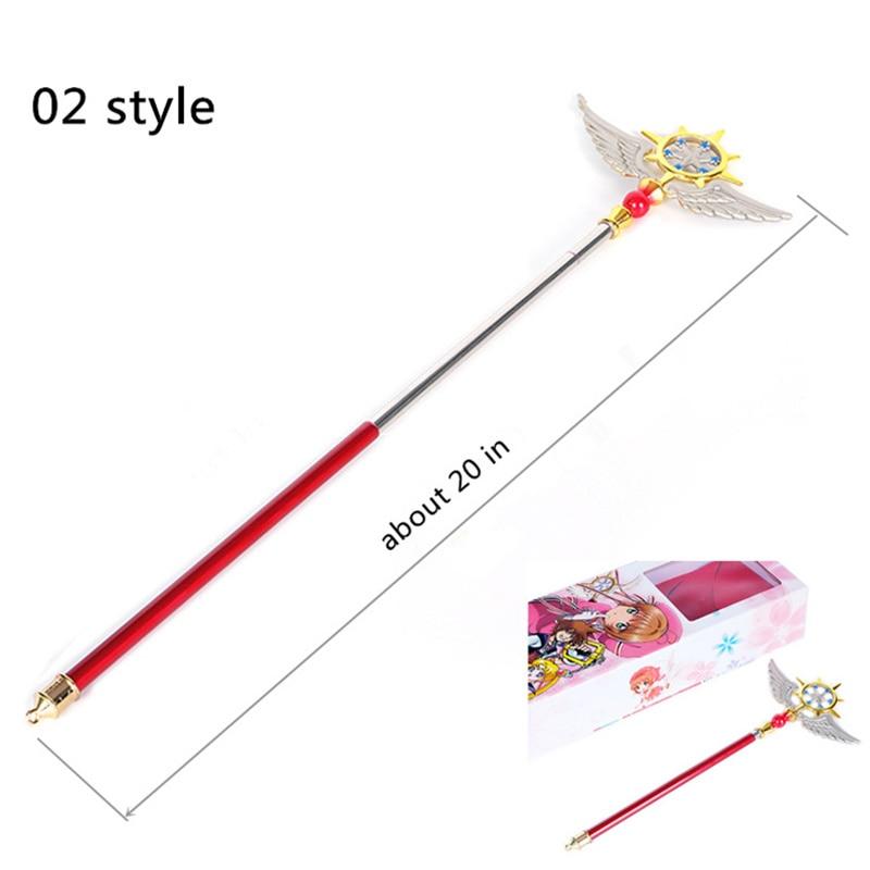 Telescopic Metal Material Magic Wand Sakura Kinomoto Three Style Cardcaptor Sakura Cosplay Props Maximum Length About 20 In Costume Props