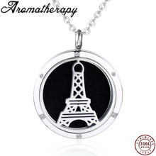 AROMATHERAPY JEWELRY Eiffel Tower Steel Perfume Bottle Necklace Essential OiL Diffuser Locket Neckalce Stainless Pendant For Men цена