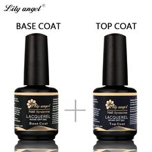 Lily angel 15ml Top Coat+ Base Coat Soak Off UV Lacquer UV Gel Nail Polish Primer Nail Gel Polish for Nail Painting Art(China)