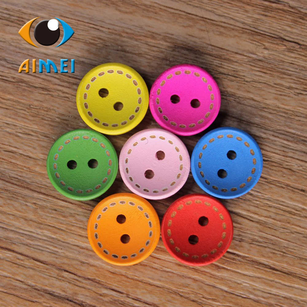 50 sztuk/partia 15mm kolorowe okrągłe malowanie drewniane guziki do odzieży Sweing dekoracyjne akcesoria do DIY szycia drewniane guziki