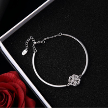 Fashion Version Four Leaf Flower Can Turn Bracelet,  Silver Bracelet Jewelry Spinning Lucky Grass for Women
