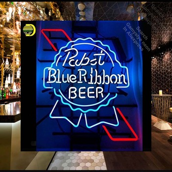 Blue Night Light Bulb | Neon Sign For Pabs BLUE RIBBO Neon Bulb Sign Beer Bar PUb Neon Lights Sign Glass Tube Iconic Custom Night Light Art Signboard