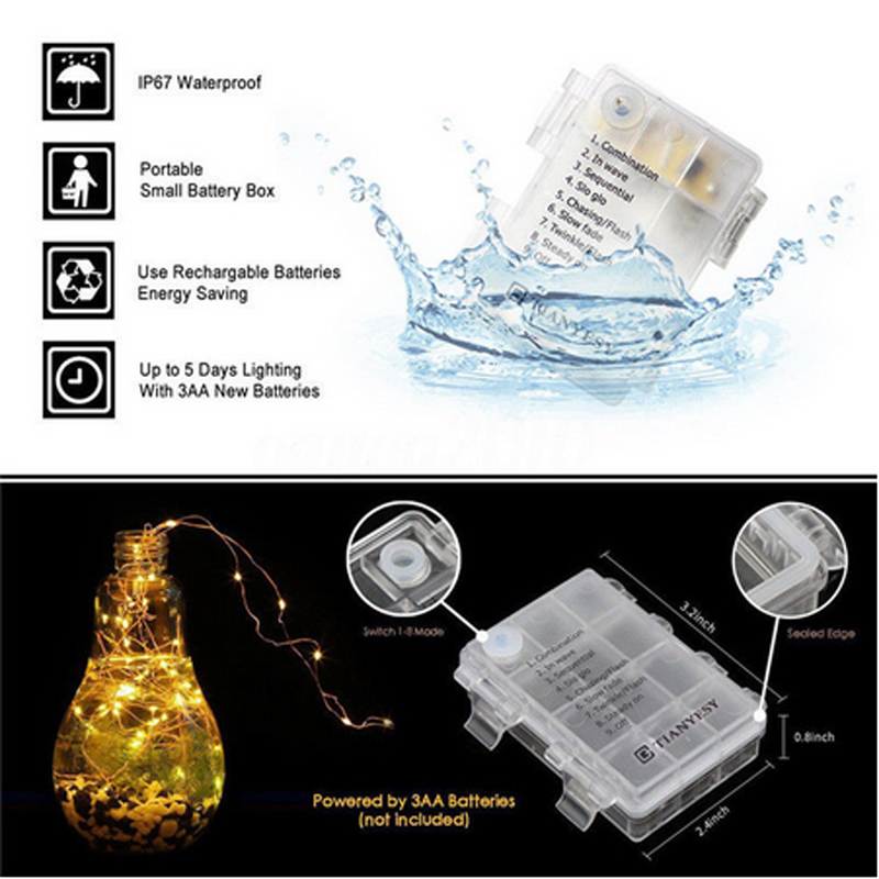 5M10M Waterproof Remote Control Fairy Lights Battery Operated LED Lights Decoration 8 Mode Timer String Copper Wire Christmas