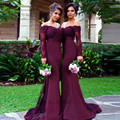Sexy Purple Bridesmaid Dresses Lace Mermaid Wedding Party Dress Long Sleeve Prom Dresses Cheap Beads Robe demoiselle d'honneur