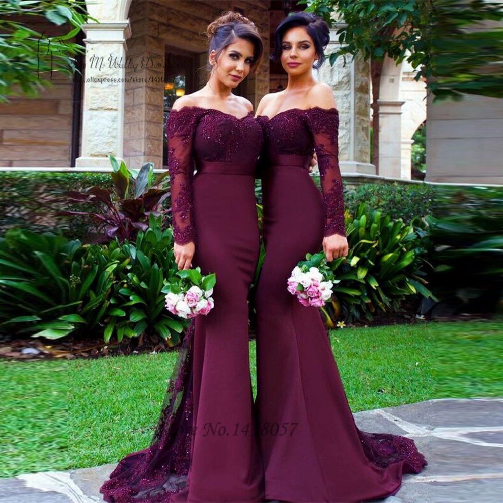 Sexy Purple   Bridesmaid     Dresses   Lace Mermaid Wedding Party   Dress   Long Sleeve Prom   Dresses   Cheap Beads Robe demoiselle d'honneur