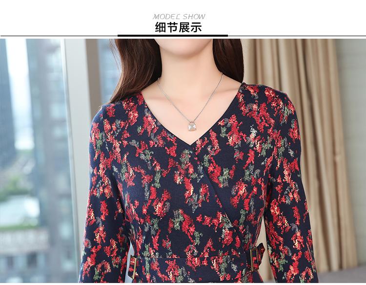 Autumn Winter New 3XL Plus Size Vintage Midi Dresses 2018 Women Elegant Bodycon Floral Dress Party Long Sleeve Runway Vestidos 44