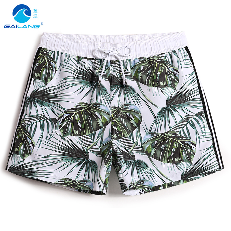 Men's summer board shorts bathing suit plavky swimsuit liner sexy joggers swimwear printed double layer surf trunks mesh