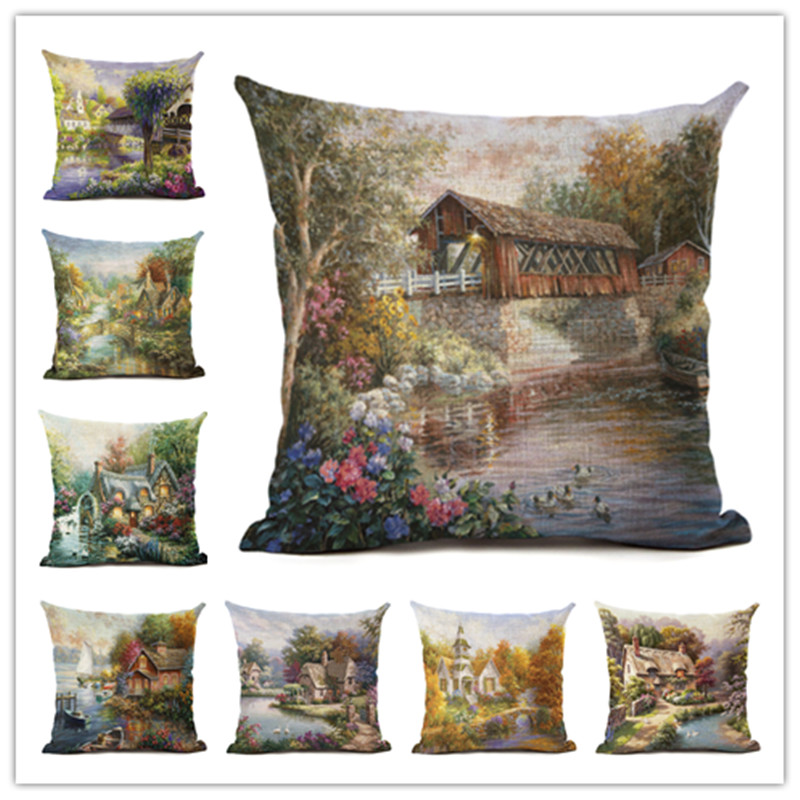 Hot Selling Quiet Town Linen Cotton Square Retro Floral Home Decor Throw Pillow Cushion Cover Cojines