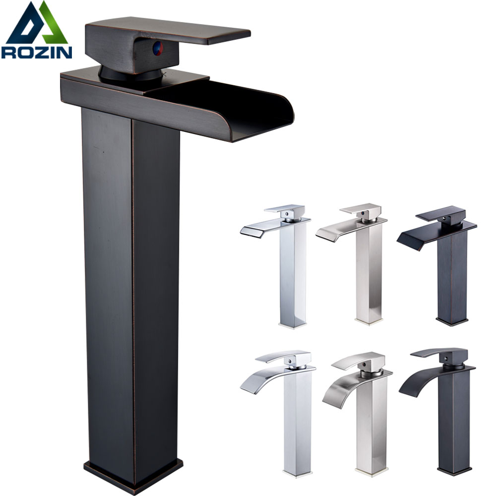 Black Waterfall Basin Faucet Single Lever Bathroom Vessel Sink Mixer Tap Hot Cold Water Faucet Basin Mixer Tap One Hole