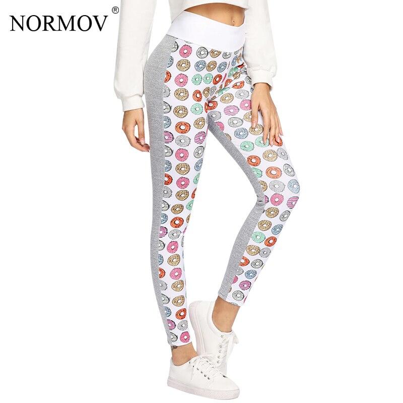 NORMOV Women Cute Donut Printed Leggings Fitness Workout leggings Fashion Sportswear Ptint Leggins Jeggings Pants Women S-XL