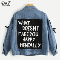 Dotfashion Blue Letter Print Lace Up Denim Jacket Womens 2019 Clothing Coats Autumn Fashion Women Casual Spring Pocket Outerwear