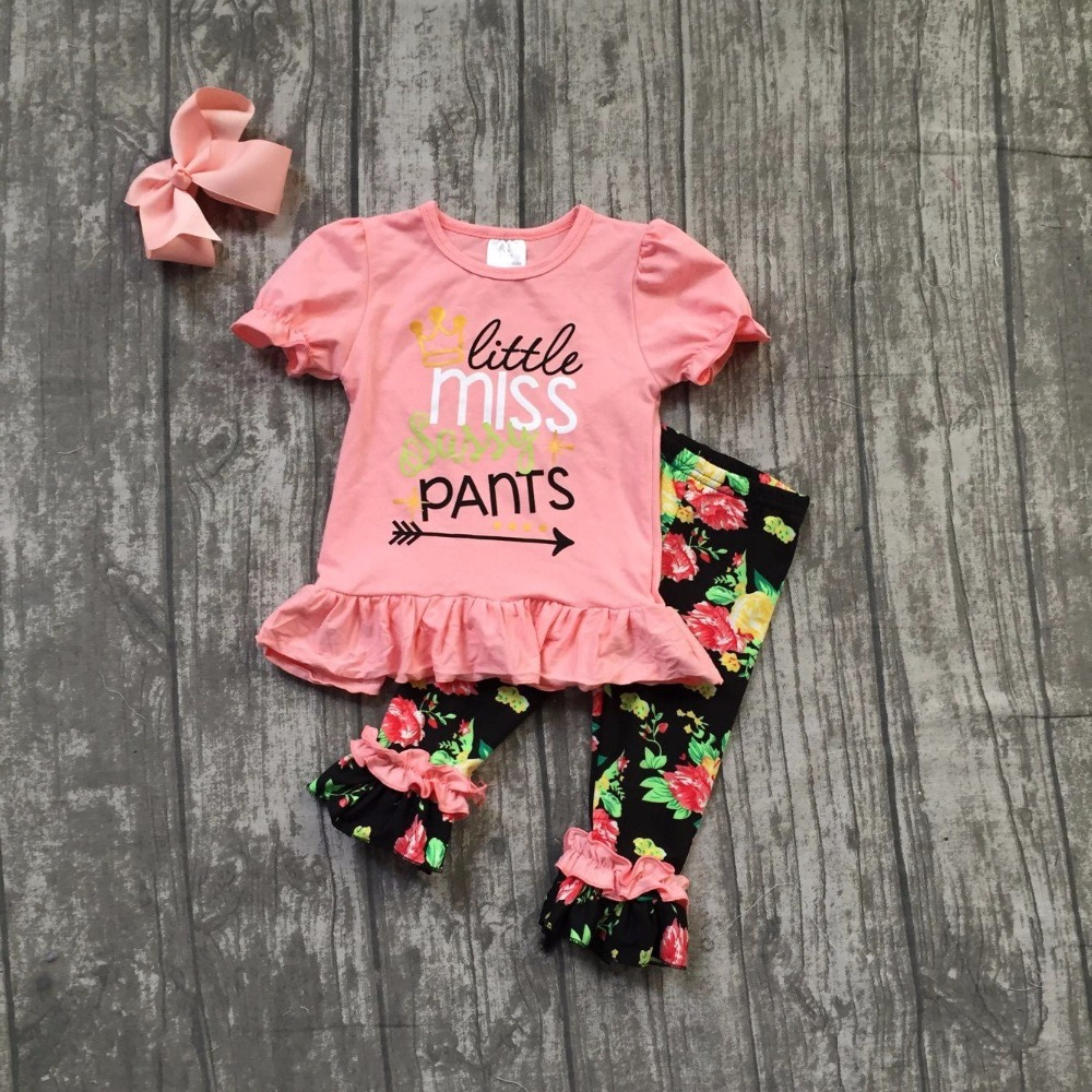 baby girls boutique summer spring clothes girls little miss sassy pants clothing kids coral top with floral capri pant with bows