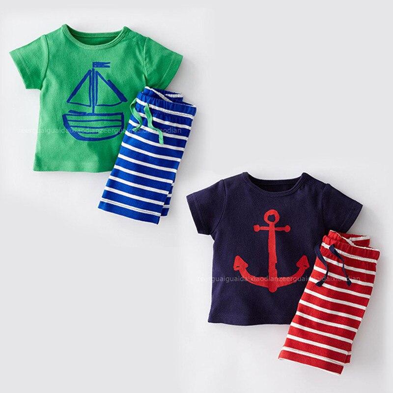 Dětské Chlapecké soupravy Oblečení Děti Móda Léto Bavlněné tričko s krátkým rukávem + Pruhované šortky 2 kusy Batole Kostry