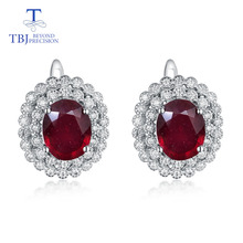TBJ,925 sterling silver natural good color ruby classic clasp earrings anniversary best gift for mother or wife fine jewelry