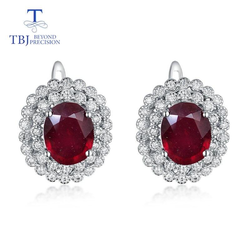 TBJ, 925 argent sterling naturel bonne couleur rubis classique fermoir boucles d'oreilles anniversaire meilleur cadeau pour mère ou femme bijoux fins