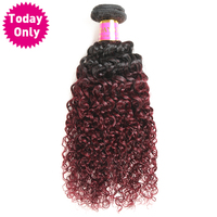Today Only Burgundy Ombre Brazilian Hair Kinky Curly Weave Human Hair Bundles Non Remy 1b 99j