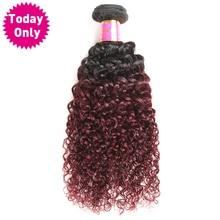[TODAY ONLY] Burgundy Ombre Brazilian Hair Kinky Curly Weave Human Hair Bundles Two Tone 1b 99j Hair Weave Bundles Non Remy Hair