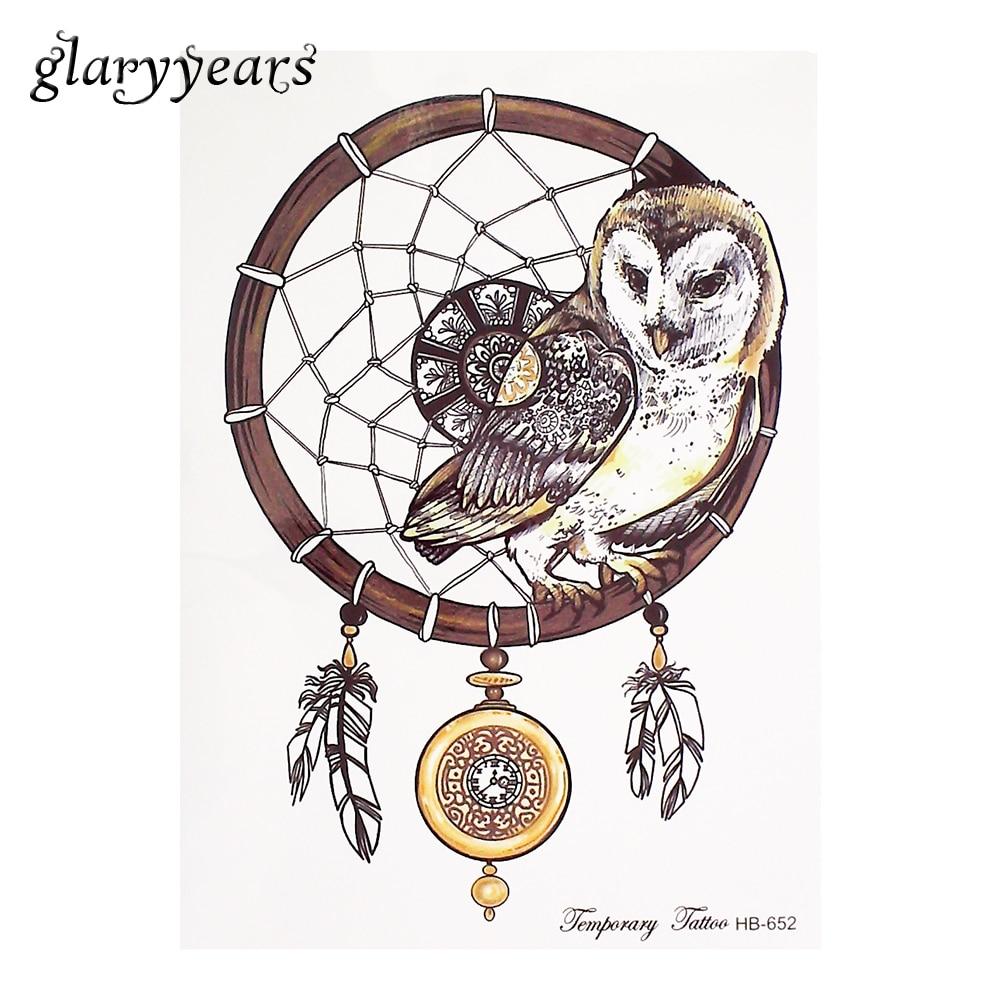 ⑤1 unidades tatuaje temporal etiqueta búho Dreamcatcher patrón ...