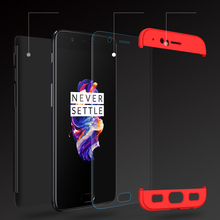 Bosilang  360 Full Protection Plastic Hard Case for Oneplus 5 Tempered Glass Screen Protector Film