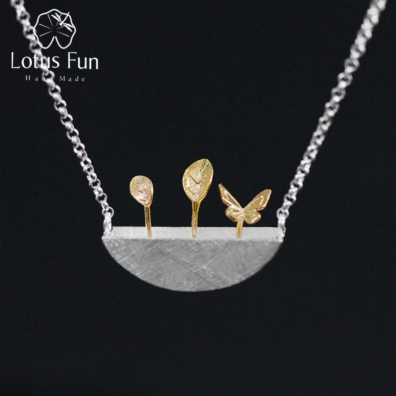 Lotus Fun Real 925 Sterling Silver Natural Style Creative Handmade Fine Jewelry My Little Garden Pendant Necklace for WomenLotus Fun Real 925 Sterling Silver Natural Style Creative Handmade Fine Jewelry My Little Garden Pendant Necklace for Women