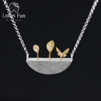 Lotus Fun Real 925 Sterling Silver Natural Style Creative Handmade Fine Jewelry My Little Garden Pendant Necklace for Women