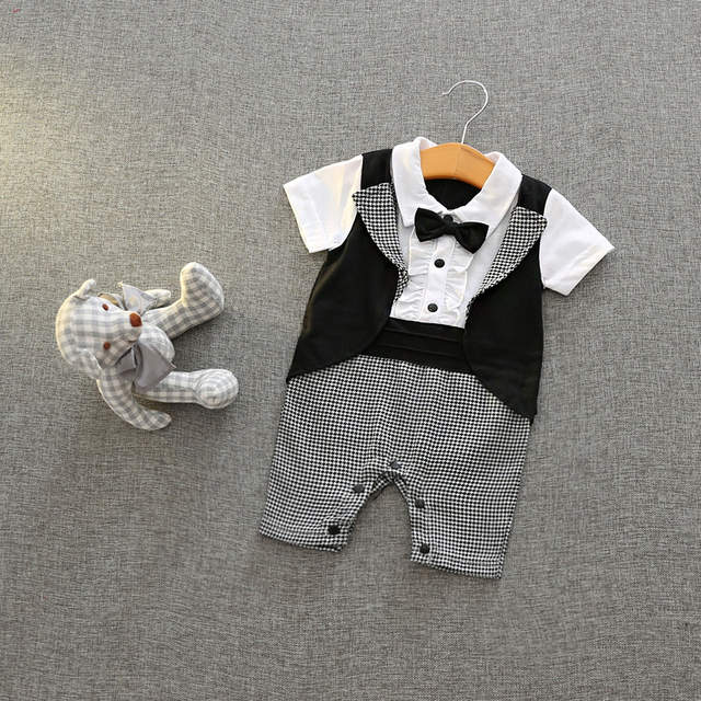 16faf102d9cb placeholder Cotton Newborn Baby Boy Rompers Short Sleeve Baby Boys  Gentleman Clothes Set Summer Jumpsuit for Infant