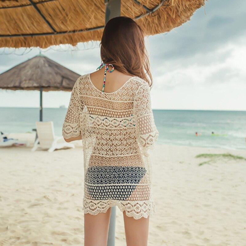 Пикантные крючком Пляж Cover Up Новинка 2017 года парео пляжное платье белые женские бикини Cover Ups пляжная туника Саида de Praia