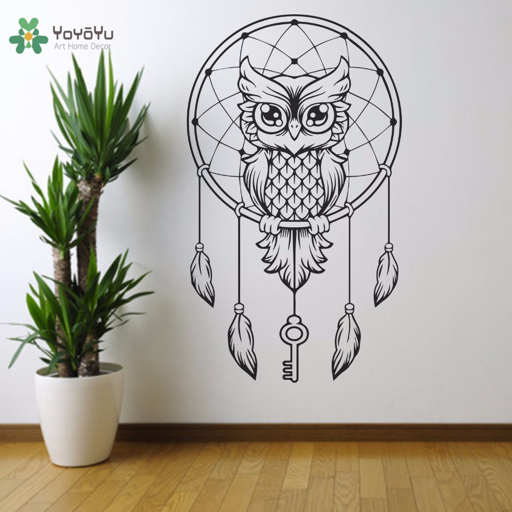 YOYOYU Wall Decal Vinyl Art Home Decor Stikcer Dreamcatsher Owl Detailed Wall Decoration Bedroom Removebale Mural YO577
