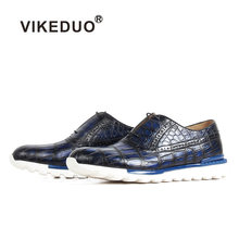 VIKEDUO 2019 Crocodile Leather Sneakers Patina Handmade Blue Mans Footwear Casual Sports Men's Shoes Rubber Sole Luxury Zapato(China)
