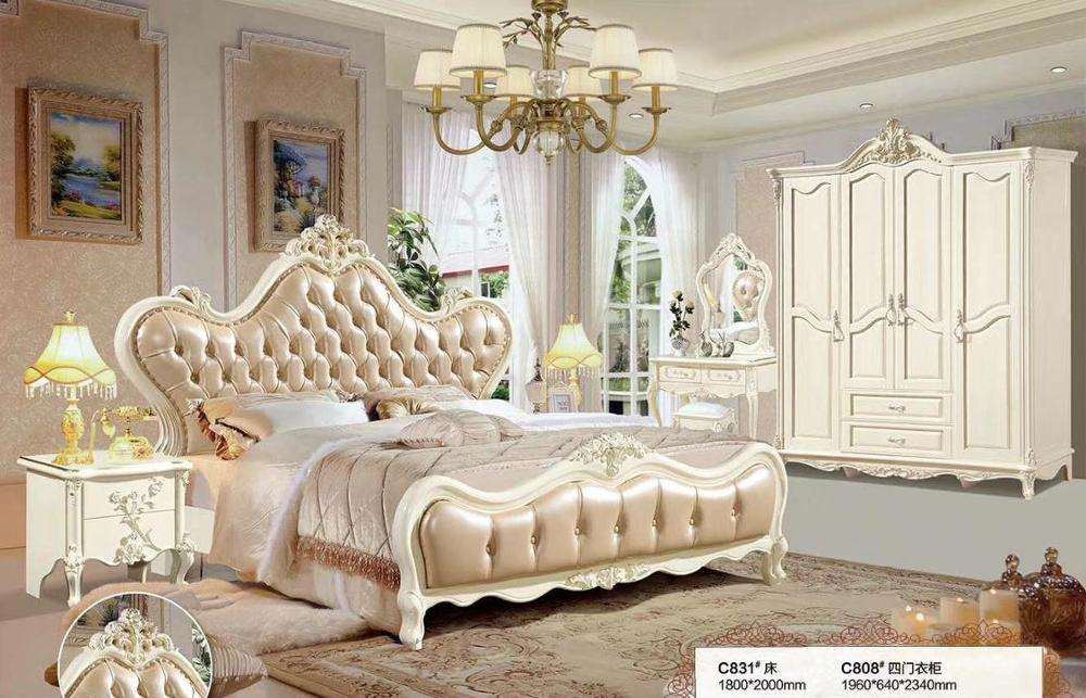 Modern European Solid Wood Bed Fashion Carved  1.8 M Bed  French Bedroom  Furniture DCXC831
