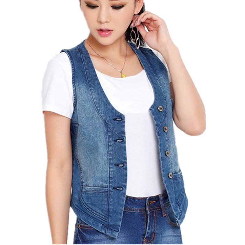Women sleeveless denim jacket