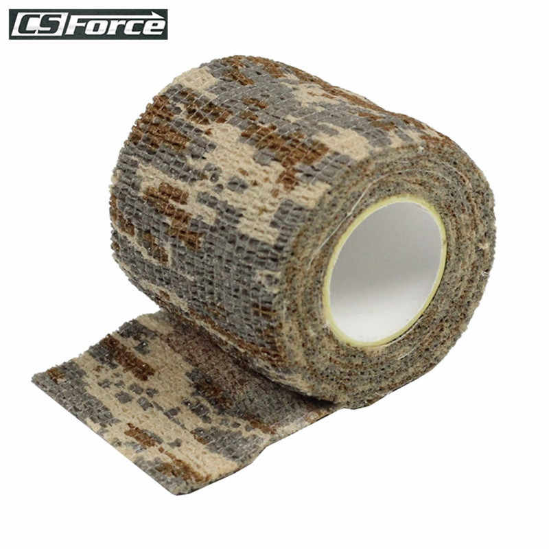 Military Tactical 1 Roll Camo Stretch Bandage Adhesive Elastic Paintball Camping Hunting Multifunctional Camouflage Tape (4.5M)