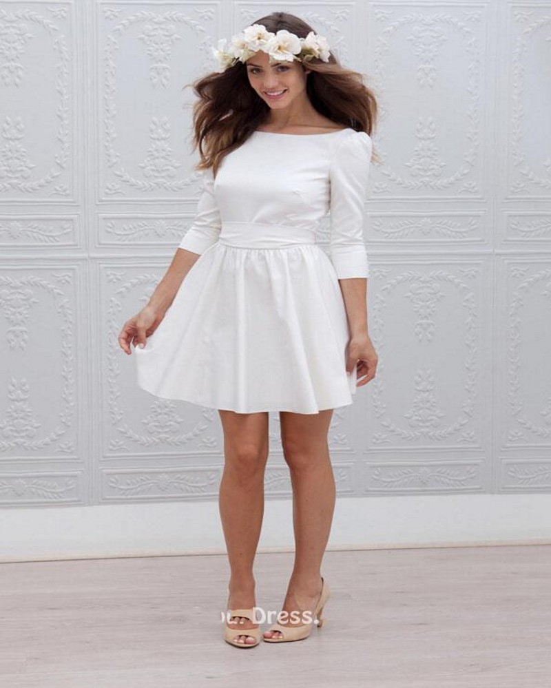 Wedding Simple White Wedding Dresses aliexpress com buy 2016 simple above knee mini short wedding dress sexy backless long sleeve a line bridal dresses from reliable b