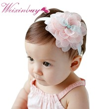 2017 Lovely Baby Kids Baby Girl Toddler Lace Flower Hairband Headwear Newborn Infant Lace Flower Hairband cheap(China)