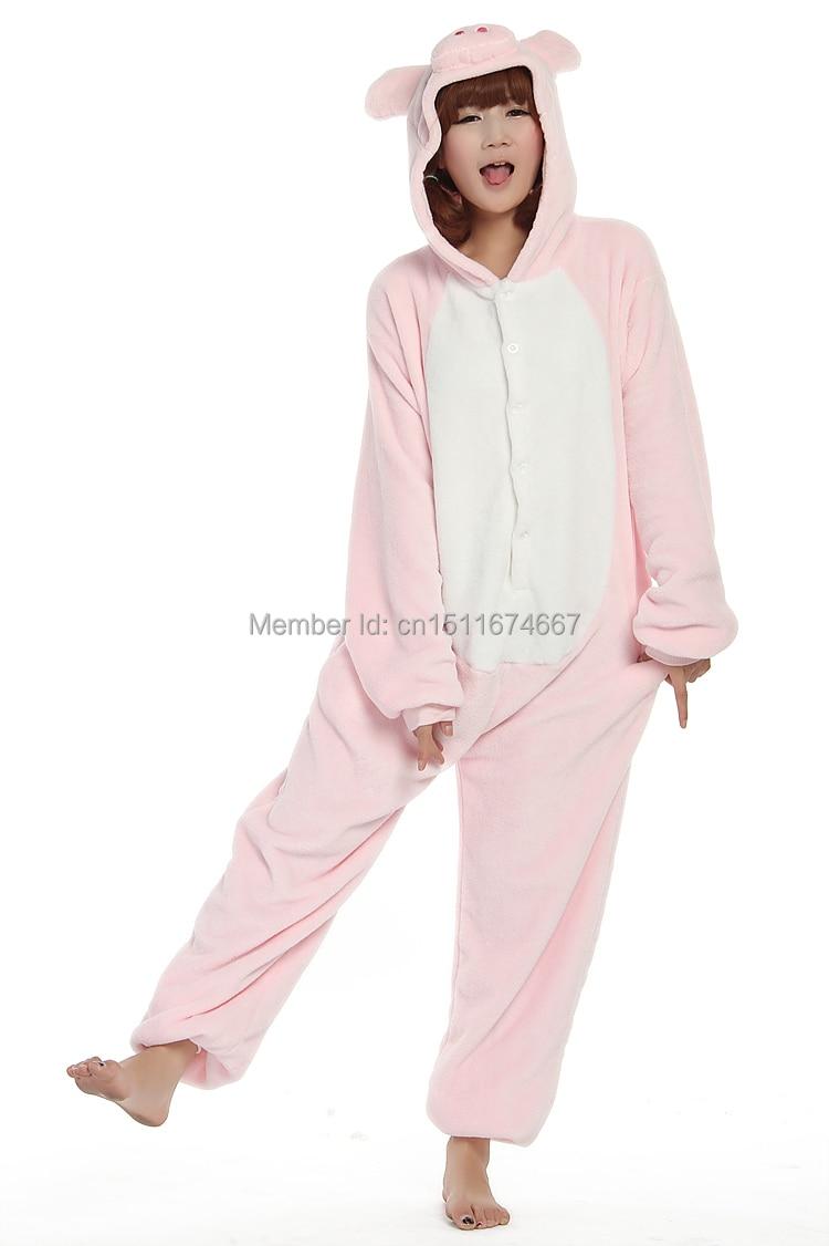 Dikke zachte flanel anime kostuum roze varken onesie pyjama halloween - Carnavalskostuums - Foto 3