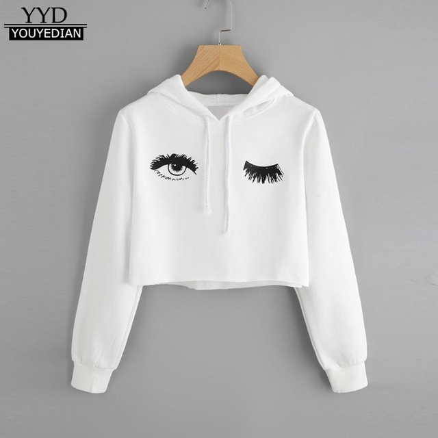 243b26acbd0 Short Cropped Womens Hoodie Eye Print New Fashion Top Women Long Sleeve  Hooded Hoodies Lady Tumblr Sweatshirt Plus Size *1016