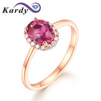 Fashion Natural Fine Pink Tourmaline Gemstone 14K Yellow Gold Diamond Wedding Engagement Ring for Women