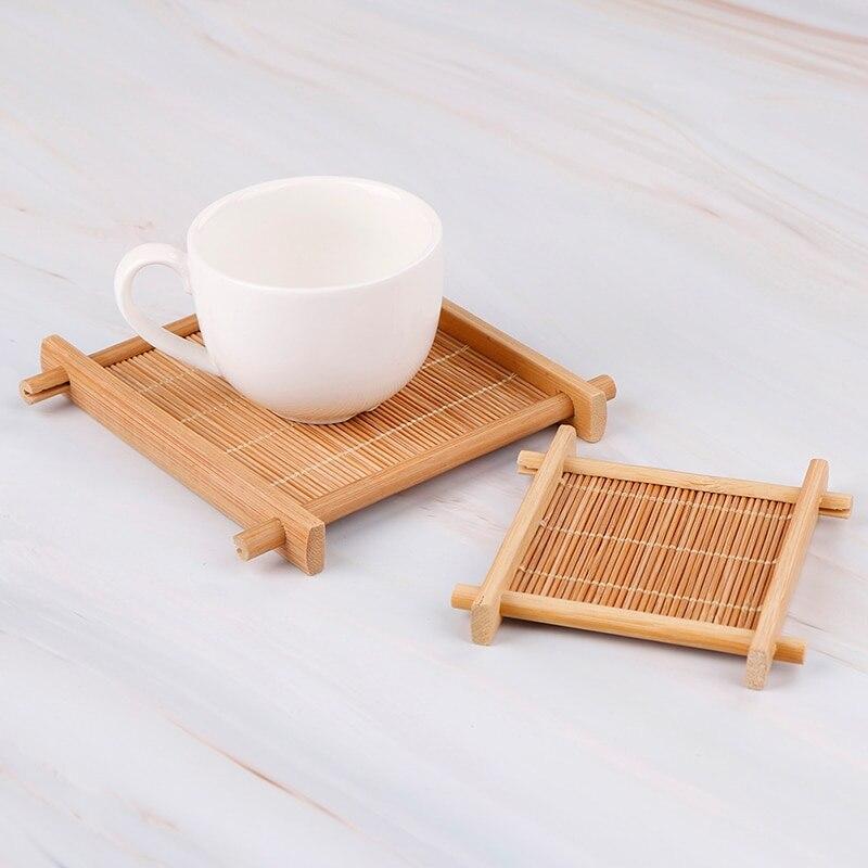 1pc 7x 7 センチメートル/12 × 12 センチメートル断熱ソーサー竹茶カップマットトレイコースターキッチンアクセサリープレイスマットカップホルダー皿ポットパッド