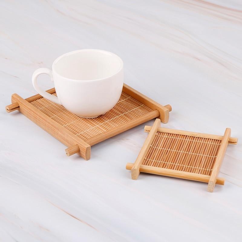 1pc 7x7cm/12x12cm Heat Insulation Saucer Bamboo Tea Cup Mat Trays Coaster Kitchen Accessories Placemat Cup Holder Dish Pot Pads