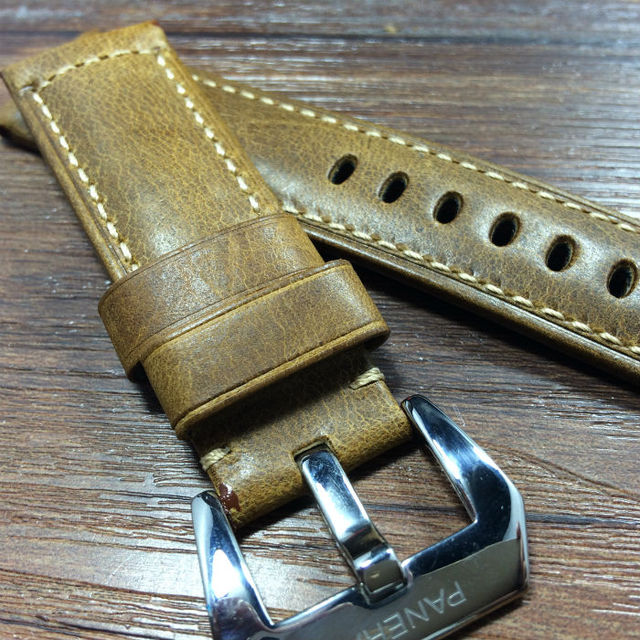 24MM 26MM burst crack oil wax Retro Leather Watchband, rough Leather Strap For P-Style Watch With Logo,Free Shiping