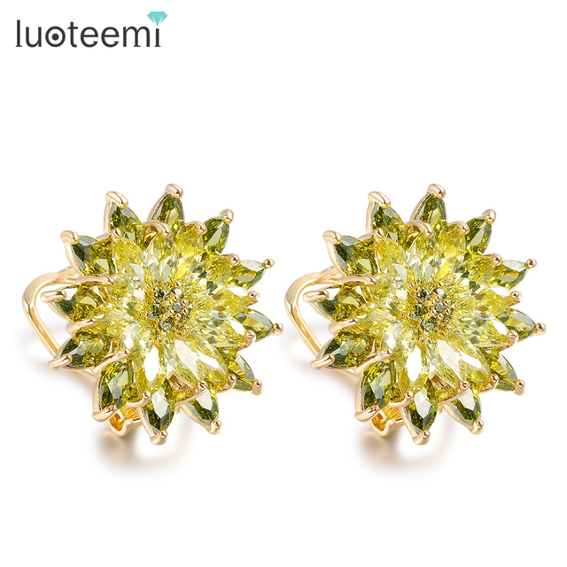 LUOTEEMI New Unique Champagne Gold Plated Luxury AAA Bright Cubic Zircon Stud Earrings Flower Bridal Wedding for Women Jewelry