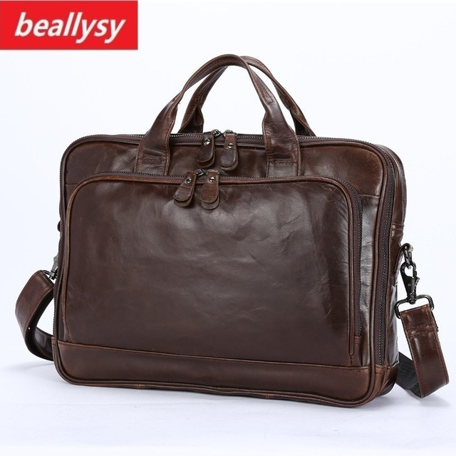 Genuine Leather Men Briefcase Office Bag Business Laptop Tote Bag Cowhide Men  Messenger Bags Lawyer Male Handbag Shoulder bag f10eea166bf3d