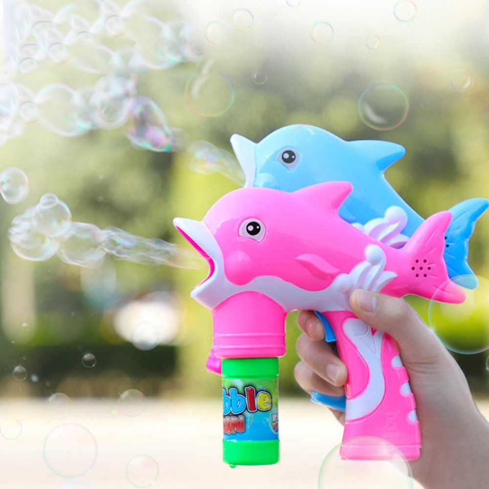 Kids Baby Soap Water Bubbles Toy with Light Music Children Bubble Toys Gun Cartoon Water Gun Electric Dolphin Bubble Machine Toy