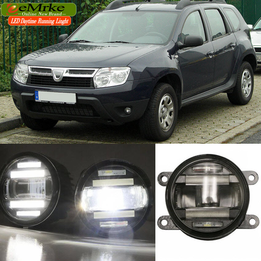 eeMrke Car Styling For Renault Dacia Duster 2010 - up 2 in 1 Multifunction LED Fog Lights DRL With Lens Daytime Running Lights eemrke car styling for opel zafira opc 2005 2011 2 in 1 led fog light lamp drl with lens daytime running lights